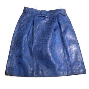 VINTAGE Bermans Electric Blue Leather Skirt Sz 6
